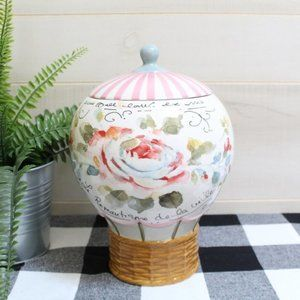 Hot Air Balloon Cookie Jar Canister NWOT Ceramic